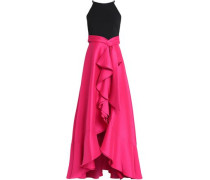 Crepe-paneled Ruffled Satin-faille Gown Bright Pink Size 0