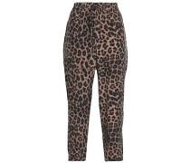 Cropped Leopard-print Silk Straight-leg Pants Animal Print