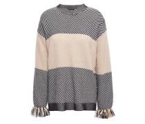 Fringe-trimmed Intarsia-knit Sweater Black
