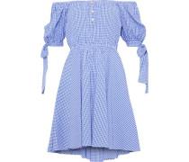 Bardot Off-the-shoulder Gingham Cotton-seersucker Mini Dress Blue