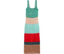 Color-block crochet-knit maxi dress