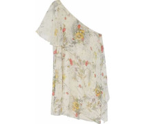 One-shoulder layered floral-print silk mini dress
