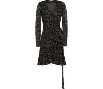 Woman Floral-print Mesh Mini Wrap Dress Black