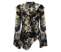 Ruffled Floral-print Silk-chiffon Blouse Black