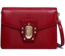 Lizard-effect leather shoulder bag