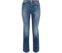 Cropped distressed high-rise slim-leg jeans