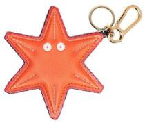 Leather Keychain Orange Size --