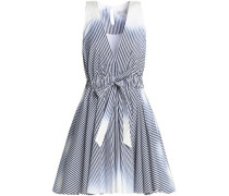 Dégradé striped cotton-poplin mini dress