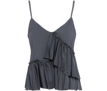 Tiered Silk-blend Top Anthracite