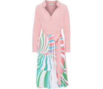 Woman Wrap-effect Pleated Printed Silk-blend Crepe Dress Baby Pink