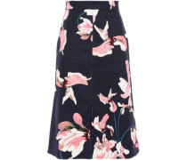 Floral-print Cotton-blend Canvas Skirt Navy