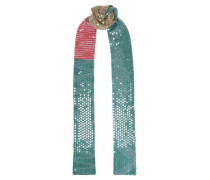 Embellished Striped Knitted Scarf Green Size --