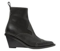 Nubuck Wedge Ankle Boots Black