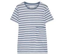 Woman The Drop Pocket Striped Linen-jersey T-shirt Light Blue