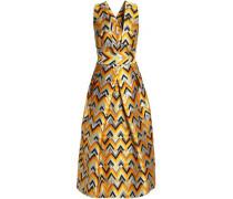 Pleated metallic jacquard midi dress