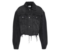 Cropped Appliquéd Frayed Denim Jacket Black