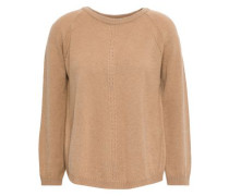 Pointelle-trimmed Wool And Cashmere-blend Sweater Camel