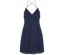 Beaded Silk-chiffon Mini Dress Navy
