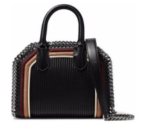 Chain-trimmed quilted faux suede and leather tote