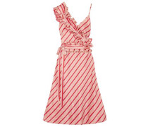Convertible Ruffled Striped Silk-satin Dress Blush Size 12