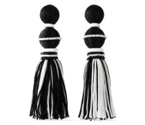 Tasseled Gold-tone, Cord, Bead And Resin Clip Earrings Black Size --