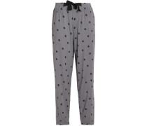 Printed stretch-modal pajama pants