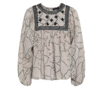 Embroidered printed cotton-voile blouse