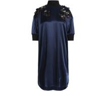 Ribbed knit-trimmed embellished satin turtleneck dress
