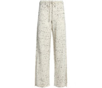 Marled wool-blend wide-leg pants