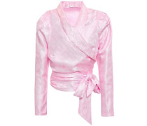 Merilyn Satin-jacquard Wrap Top Baby Pink