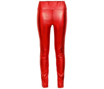 Metallic Stretch-leather Leggings Red