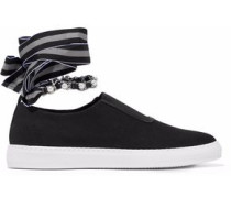 Lace-up embellished canvas slip-on sneakers