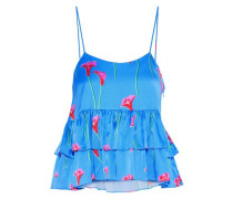 Nadine Tiered Floral-print Washed Stretch-silk Camisole Azure
