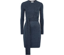 Twisted metallic ribbed-knit dress