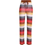 Striped cotton-blend pajama pants