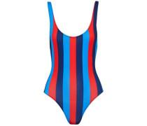 Open-back striped swimsuit
