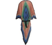 Color-block open-knit kaftan