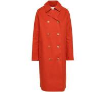 Double-breasted Waterproof Cotton-gabardine Coat Bright Orange