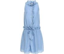 Woman Ruffled Cotton And Silk-blend Voile Dress Light Blue