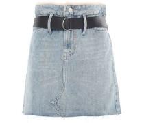 Shearling-trimmed Belted Denim Mini Skirt Mid Denim
