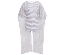 Woman Draped Striped Cotton-poplin Top Off-white
