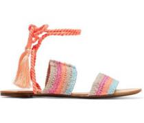 Zendy tasseled crochet-knit leather sandals