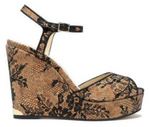 Perla Chantilly lace wedge sandals