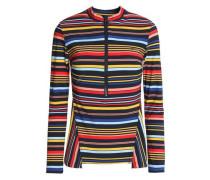 Striped stretch-knit swimsuit
