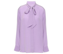 Woman Pussy-bow Silk Crepe De Chine Blouse Lilac