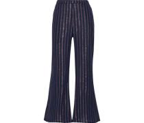 Emmanuel Striped Crinkled Cotton-blend Flared Pants Navy