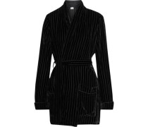 The Pari Belted Devoré-velvet Wrap Cardigan Black