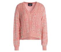 Metallic Cable-knit Sweater Pastel Orange