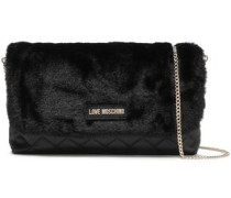 Faux Fur And Quilted Faux Leather Shoulder Bag Black Size --