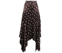 Floral-print Satin Midi Skirt Dark Brown